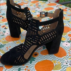 "Franco Sarto black suede 3"" block heel sandals/10"